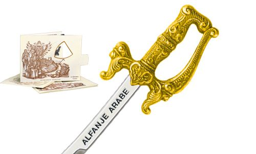 Miniature Arabian Scimitar Cutlass (Gold) by Marto of Toledo Spain