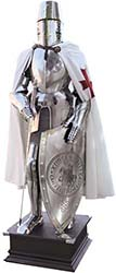 This full size Templar Knight Suit of Armor by Marto of Toledo Spain replica reproduction was inspired by 15th Century Suit of Armor models that were typical of the armor worn by the crusaders in the Holy Land. The Great Helm, breastplate and gauntlets are rich in Templar decorations such as the PatteT Crosses and others Templars' seals and emblems. The suit of armor is provided with a templar investiture sword, a parade shield decorated by the ôSigillum Militum Xristiö Templar emblem and a white cloak with a red PatteT Cross embroidered near the left shoulder. This armor is totally made in iron and steel with brass cutins and it's assembled on an elegant wooden leathered basement. This Templar Knight's Suit of Armor is an exceptionable symbol of Historic , Religious and Noble times that can be adapted to any interior decor. Handcrafted in Toledo Spain, the suits of armor by Martespa, a division of Marto, are the best replicas you can find. Their unrivaled quality and historical authenticity makes them a valuable and impressive collector item!